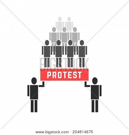 crowd of protesters people. concept of protestor, anarchy, victory, solidarity, fight rebellion, union, stick figure parade. flat style trend modern logo design vector illustration on white background