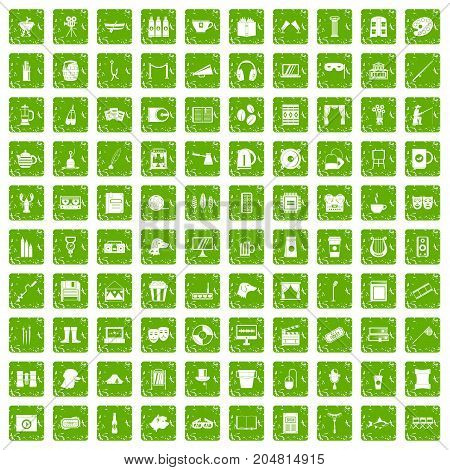 100 leisure icons set in grunge style green color isolated on white background vector illustration