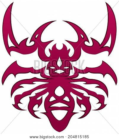 illustration of a red bug tattoo on isolated white background