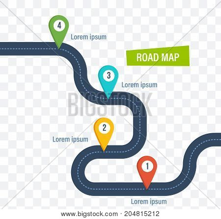 Road map with colorful bright marks markers and road, with a paved route. Roadmap template design on transparent background. Vector illustration.