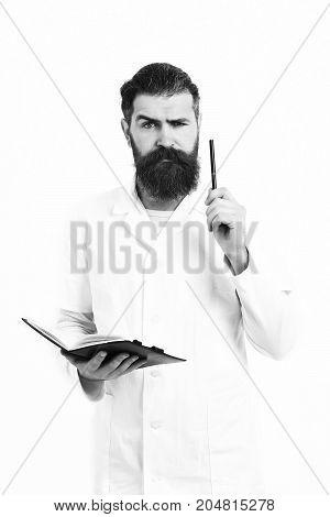 Bearded Brutal Caucasian Doctor Or Postgraduate Student