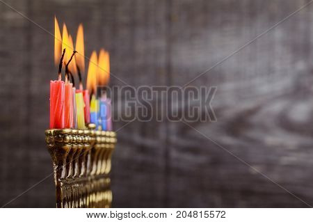 Jewish Holiday Hannukah Symbols - Menorah, Doughnuts, Chockolate Coins And Wooden Dreidels.