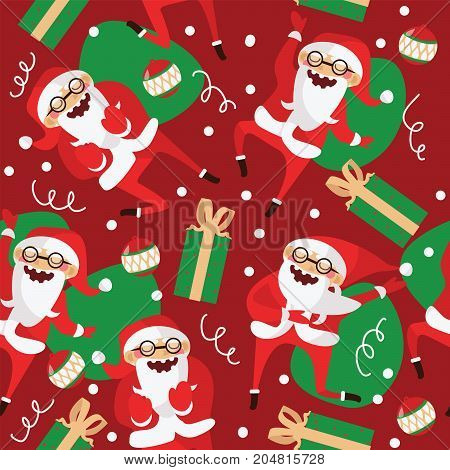Set with lovely dancing Santa Claus hand drawn in different dance steps. Vector seamless pattern with lovely character with closed eyes and holiday accessories on red background