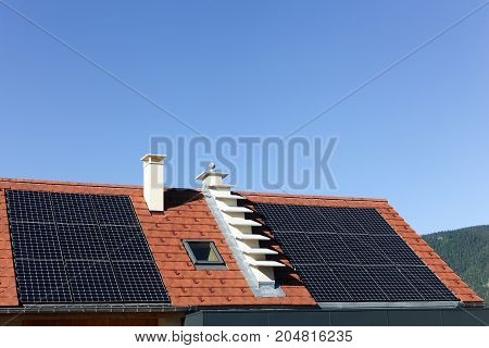 Solar panels on a roof of a house
