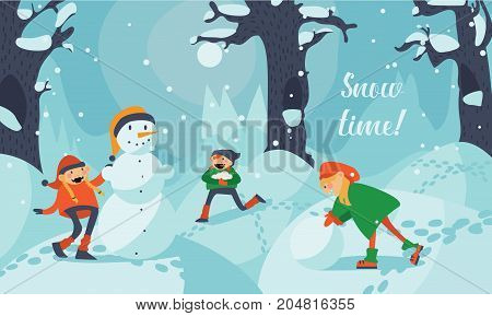 Lovely cute kids making snowman in winter landscape. Girls and boys running and making snowman among trees and snowdrifts.