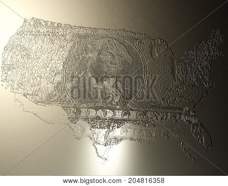 Digital 3D Illustration Of An Usa Relief