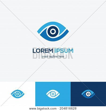 Blue eye icon. Media multimedia technology vector logo design. Vision symbol