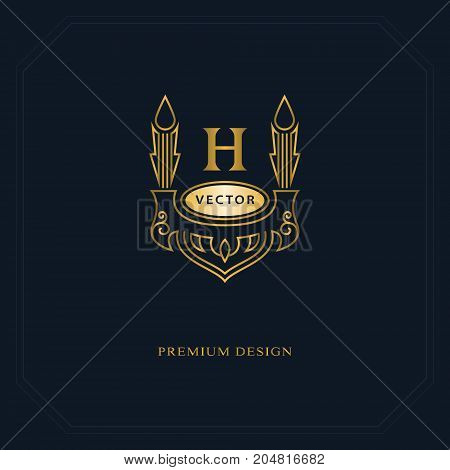 Gold Line graphics monogram. Elegant art logo design. Letter H. Graceful template. Business sign identity for Restaurant Royalty Boutique Cafe Hotel Heraldic Jewelry Fashion. Vector elements poster