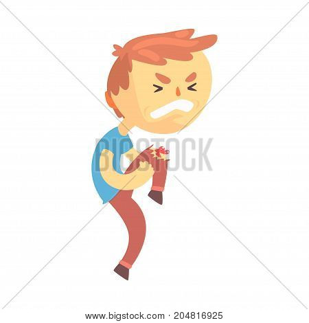 Boy character with wound on his knee cartoon vector illustration isolated on a white background