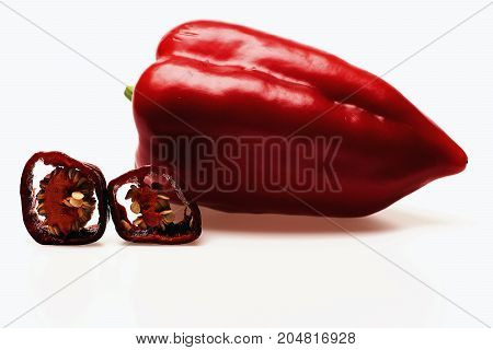 Fresh Red Vegetables, Capsicum, Cut Chilli Pepper Isolated On White