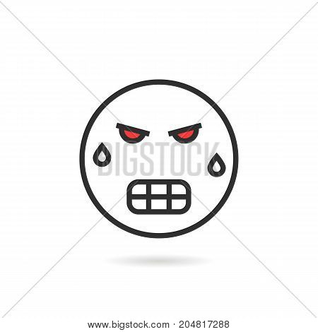 frenzied thin line emoji icon with shadow. concept of hate, rage, wicked, mad, bad, furious, sense, grumpy, depression. flat style trend modern logotype design vector illustration on white background