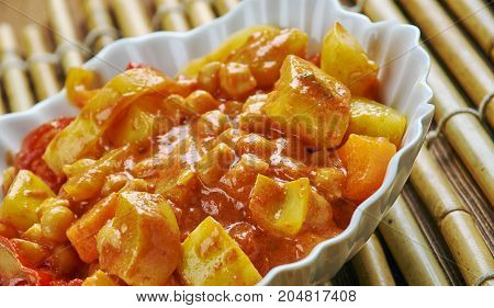 Lahori Chana Chat - chickpeas appetizer.  close up