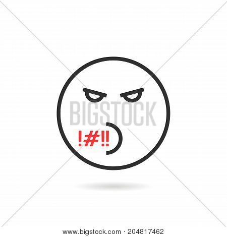 rude thin line emoji icon with shadow. concept of hate, rage, wicked, mad, pressure, furious, sense, grumpy, depression. flat style trend modern logotype design vector illustration on white background