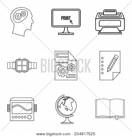 Printer icons set. Outline set of 9 printer vector icons for web isolated on white background