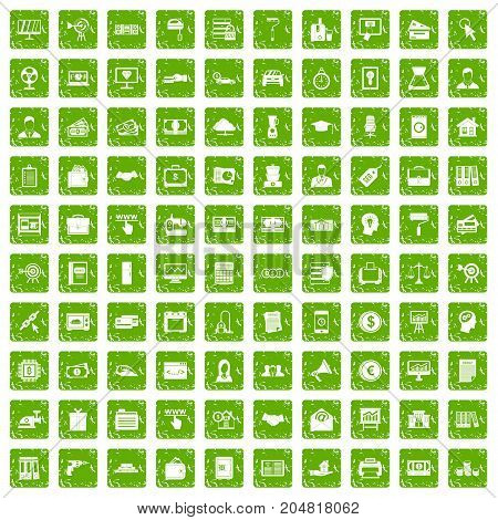 100 lending icons set in grunge style green color isolated on white background vector illustration