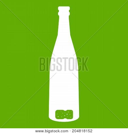 Empty wine bottle icon white isolated on green background. Vector illustration