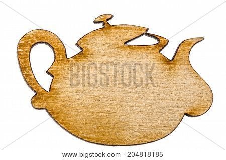 Wooden teapot decorative design element isolated on white background