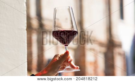 Hands holding a glass of red vine