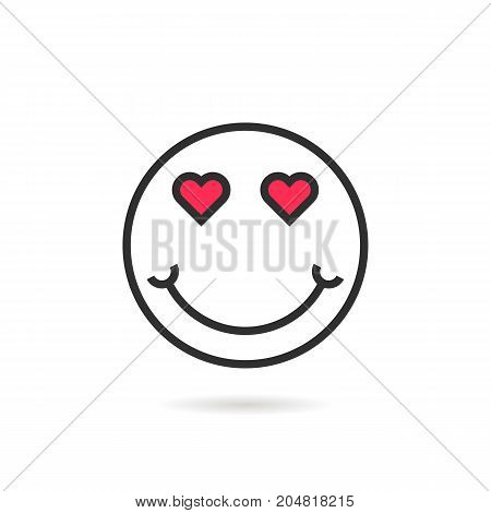 enamored thin line emoji icon with shadow. concept of happy valentine day, lovely, sense, joy, humor, amorous, desire. flat style trend modern logotype design vector illustration on white background