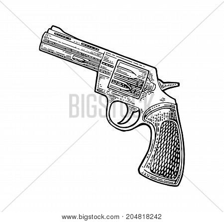 Revolver with short barrel and bullets. Vector engraving vintage illustrations. Isolated on white background. For tattoo web shooting club and label