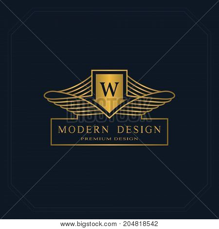Gold Line graphics monogram. Elegant art logo design. Letter W. Graceful template. Business sign identity for Restaurant Royalty Boutique Cafe Hotel Heraldic Jewelry Fashion. Vector elements