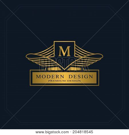 Gold Line graphics monogram. Elegant art logo design. Letter M. Graceful template. Business sign identity for Restaurant Royalty Boutique Cafe Hotel Heraldic Jewelry Fashion. Vector elements