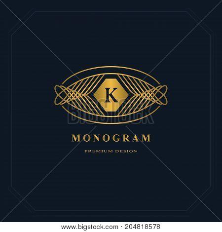 Gold Line graphics monogram. Elegant art logo design. Letter K. Graceful template. Business sign identity for Restaurant Royalty Boutique Cafe Hotel Heraldic Jewelry Fashion. Vector elements