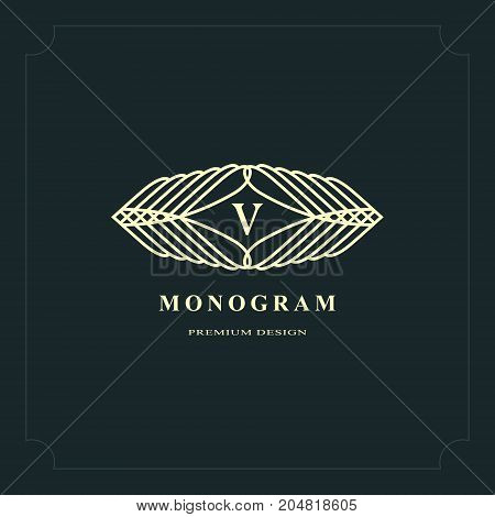 Line graphics monogram. Elegant art logo design. Letter V. Graceful template. Business sign identity for Restaurant Royalty Boutique Cafe Hotel Heraldic Jewelry Fashion. Vector elements