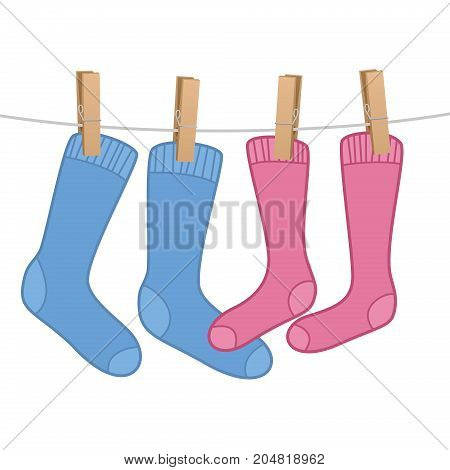 Pair of socks hanging as a love symbol on clothes line - blue for the man, pink for the woman. Isolated vector comic illustration on white background.
