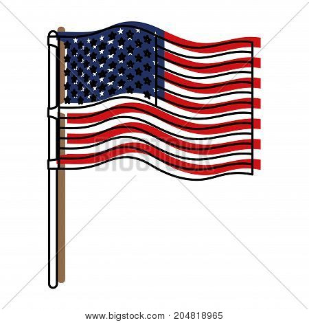 flag united states of america in flagpole wave and watercolor silhouette vector illustration