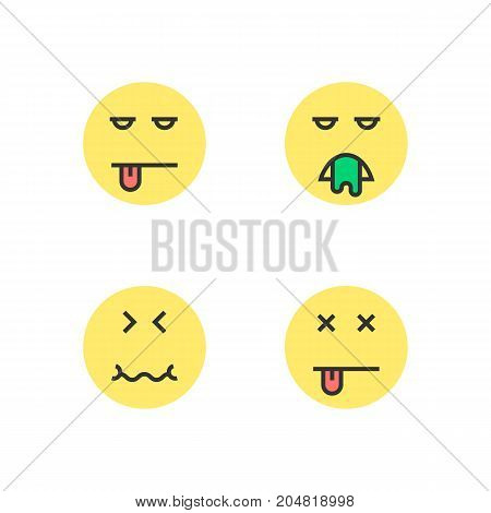 intoxication yellow thin line emoji. concept of wc, bad diet, puke, fever, poisoning, retching, sad, defecate, tension. flat style trend modern logotype design vector illustration on white background