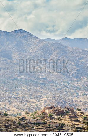 Ancient ruins of Moroccan kasbah in the mountains of the Anti Atlas, Morocco, North Africa.