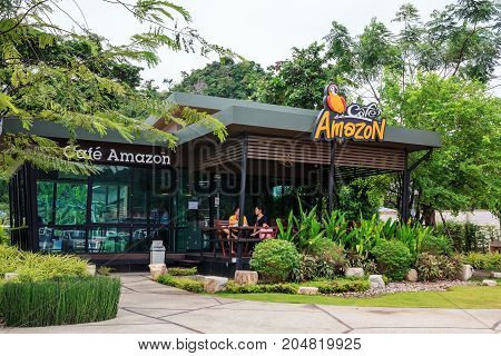 Saraburi THAILAND - Sep 16 : Cafe Amazon beverage shop at PTT Oil station on Sep 16 2017 in Saraburi THAILAND. It's a famous Thai franchise coffee house in Thailand.