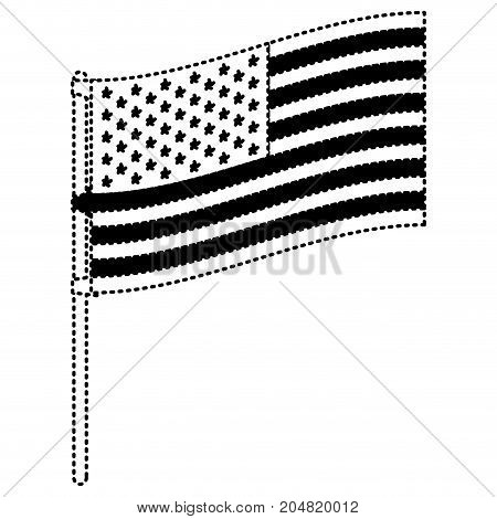flag united states of america in flagpole to side in black silhouette dotted vector illustration