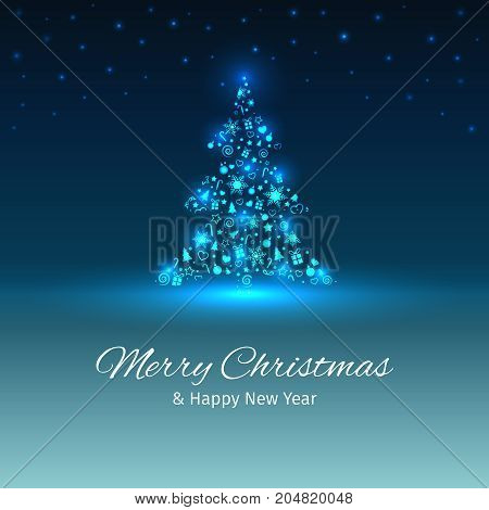 Christmas tree with lights, Christmas and New Year greeting card, place for text, vector illustration with well organized layers