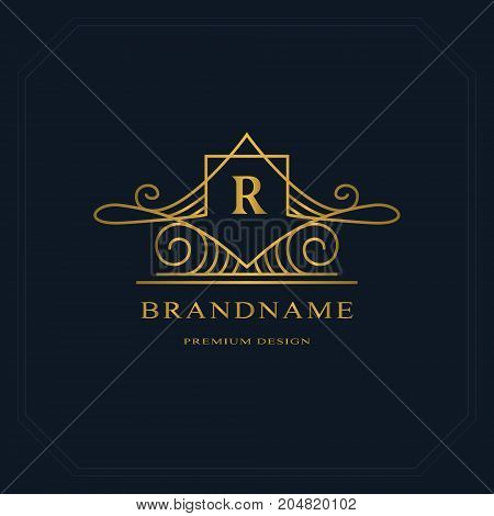 Gold Line graphics monogram. Elegant art logo design. Letter R. Graceful template. Business sign identity for Restaurant Royalty Boutique Cafe Hotel Heraldic Jewelry Fashion. Vector elements