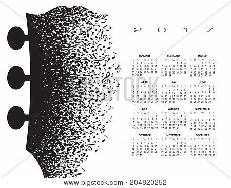 2018 calendar with a guitar headstock made of musical notes for print or web use