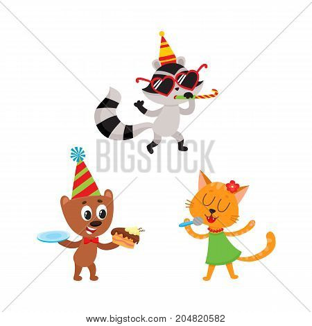 vector flat cartoon animals character happily smiling in paty hat set. bear eating piece of cake, cat in dress singing at microphone, raccoon whistling. Isolated illustration on a white background