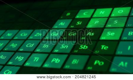 Perspective closeup of the Periodic table of the green Elements on a dark background. Macro shot very shallow DOF.