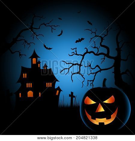 Halloween scary night poster with castle and grinning pumpkin vector eps 10