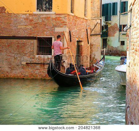 Gondola in the Venice city Italy .