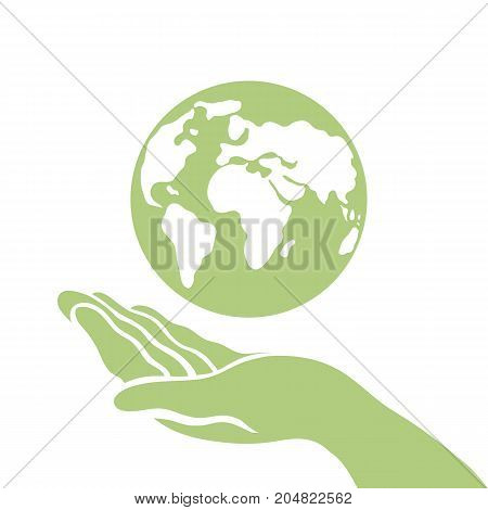 Earth Day. Day of Peace. Ecological poster. Saving the planet. Hand of man and the planet Earth. Vector illustration.