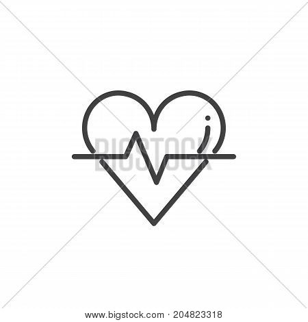Cardiogram with heart and pulse trace icon vector, filled flat sign, solid pictogram isolated on white. Charity symbol, logo illustration
