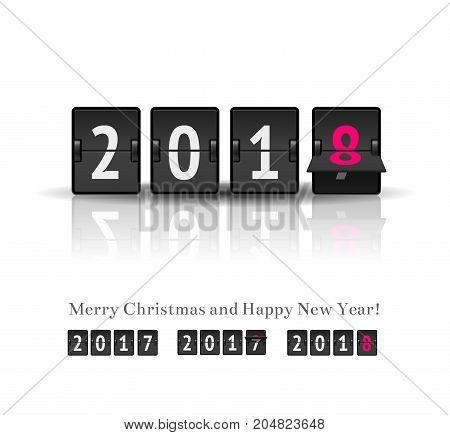 2018 New year countdown timer realistic vector