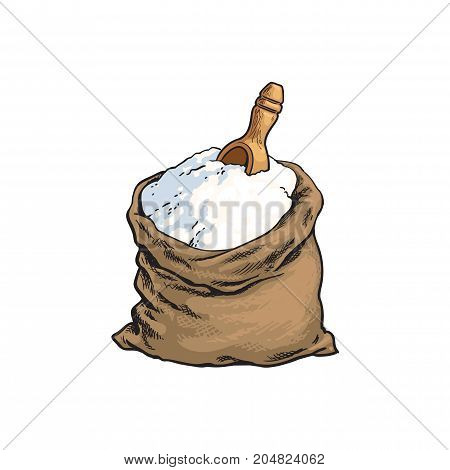 vector sketch cartoon wholemeal bread white flour or sugar burlap bag or sack with wooden scoop, shovel. Isolated illustration on a white background. Bakery menu, logo brand design element