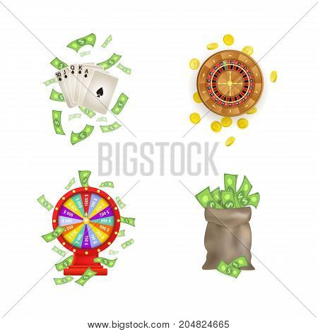 vector flat cartoon gambling american, european roulette wheel, golden coins, wheel of fortune, cash money bag and poker royal flush in spades set. Isolated illustration on a white background.