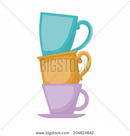 porcelain cup stack in realistic colorful silhouette on white background vector illustration