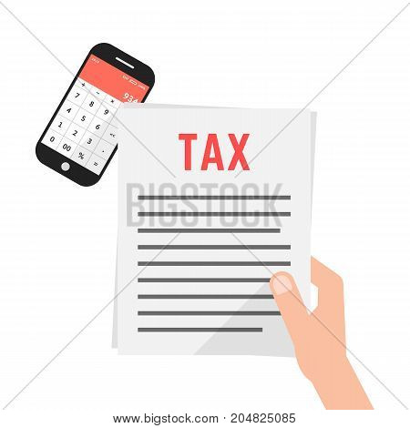 hand holding simple tax form with phone. concept of year statement, exam, budget, profit, debt, paperwork, burden, professional. flat style trend modern design vector illustration on white background