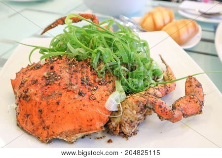 pepper crab or stir fried crab (Chinese food)