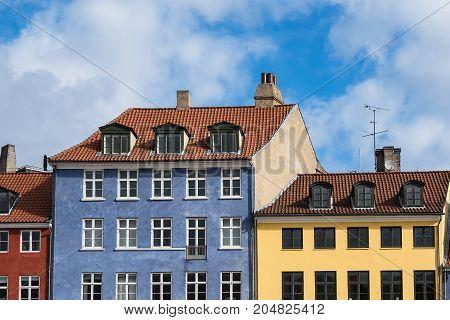 Buildings in Nyhavn in the city Copenhagen Denmark.